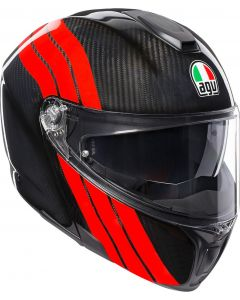 FLIP-UP ΚΡΑΝΟΣ SPORTMODULAR STRIPES CARBON/RED| AGV