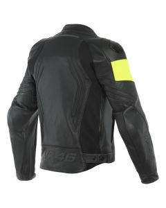 ΔΕΡΜΑΤΙΝΟ ΜΠΟΥΦΑΝ VR46 POLE POSITION LEATHER JACKET BLACK FLUO YELLOW 1533856| DAINESE